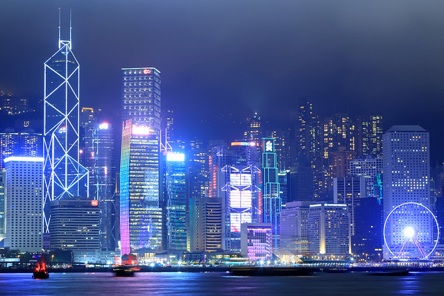 Hong Kong skyline with two traditional junks