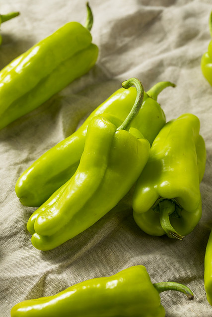 Raw Green Organic Cubanelle Peppers