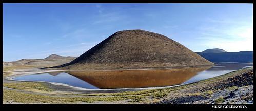 meke konya volcanic lake reflection turkey natural beauty