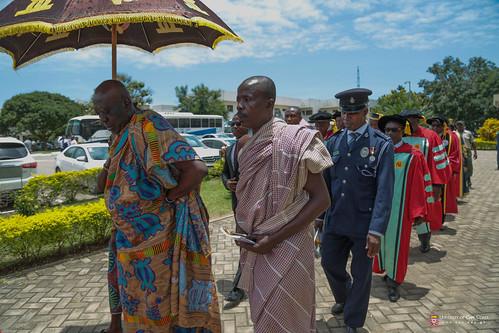 Osabarima Kwesi Atta II, Omanhen of Oguaa Traditional Area (under umbrella) being joined the procession