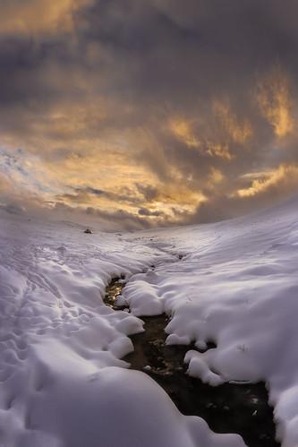 montana adventure autumn clouds explore fall freezing frozen portfolio sky snow stream sunset tracks wanderlust wild wilderness winter wonderland water ice evening color endless blankets