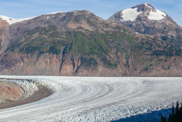 Climbing the road above the Salmon Glacier