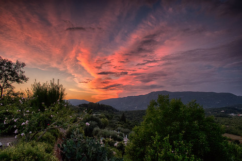 corfu greece sunset sky clouds mountains