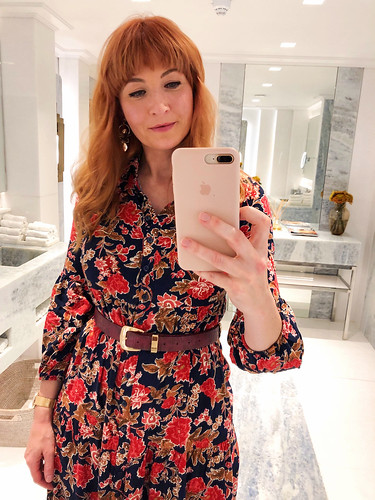 The Easiest, Quickest Autumn Outfit Formula Ever: floral midi dress, corduroy blazer and knee high boots | Not Dressed As Lamb, over 40 fashion | by Not Dressed As Lamb