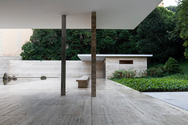 The Barcelona Pavilion designed by architect Mies van der Rohe (1929, reconstructed 1980's)