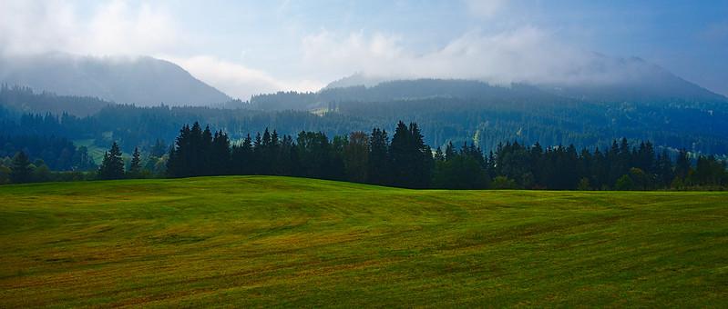 Misty bavarian mountains