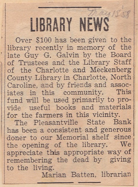 SCN_0009 Library News by Marian 19580515 featuring Galvin memorial