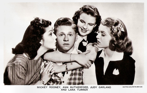 Mickey Rooney, Ann Rutherford, Judy Garland and Lana Turner in Love Finds Andy Hardy (1938)