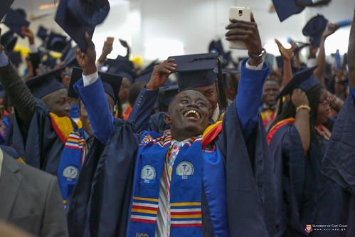 Excited graduands after singing the University Anthem