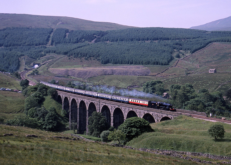 25th June 1988 LMS 8F 48151 crosses Dent Head viaduct