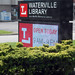 Waterville Library event sign. State Librarian Beverly Cain, Julia Ward, and Bill Morris traveled to Northwest Ohio in August 2018 to meet former State Library Board Member, John Myles, for a tour of four public libraries and the Museum of Fulton County.