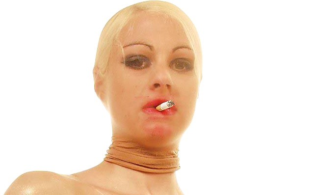 Stocking mask smoking girl with attitude