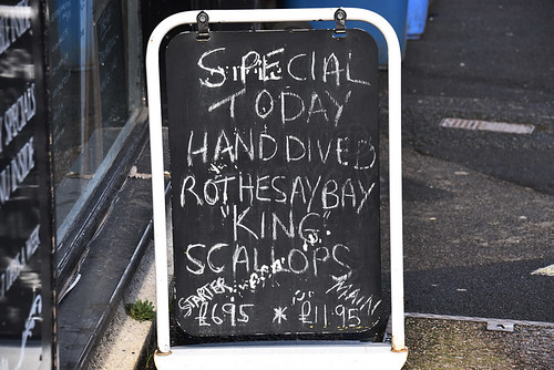 Hand dived scallops sign, Rothesay, Scotland | by BuzzTrips