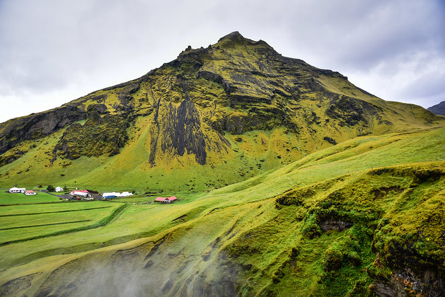 Green Icelandic Landscaped viewed from Skógafoss Waterfall - Gönguleið um Fimmvörðuháls Iceland