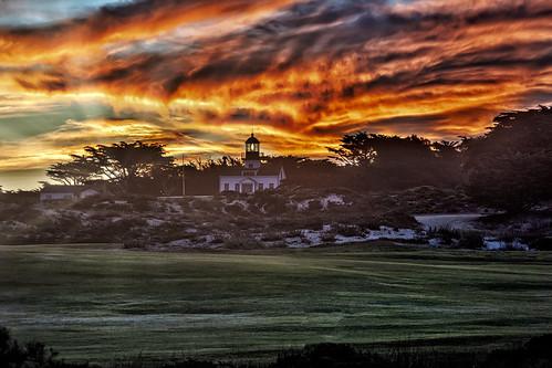 sunrise lighthouse sunrays monterey california usa travel tourism