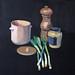 'Spring onions', 40x40cm, OIl on board
