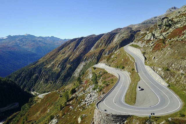 Grimsel Passstrasse Swiss Alps Switzerland - on the road