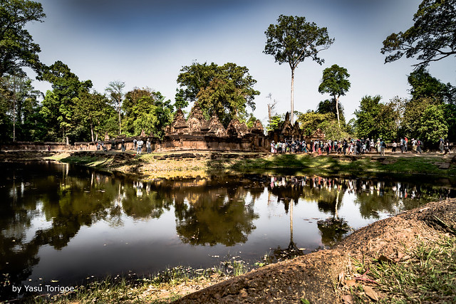 View of a Reflection Pond inside the Outer Fence and Visitors Walking toward the Eastern Entrance to Banteay Srei Temple, Angkor, Cambodia-19a