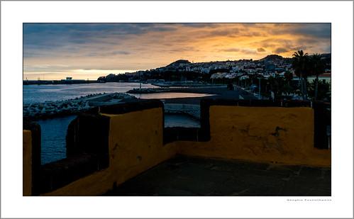atlanticocean autonomousregion fujix100t funchal madeira portugal restaurantedoforte clouds fortedesãotiago marina photoborder sky sunset water