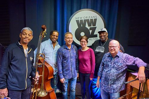 Lucien Barbarin, Mark Brooks, Mark Braud, Meghan Schwartz, Gerald French, Tim Laughlin at WWOZ - 10.25.18. Photo by Eli Mergel.
