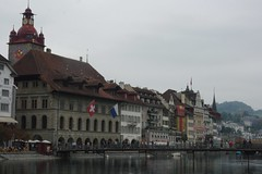 18-546   Lucerne's Old Town seen from across the River Ruess - two of two