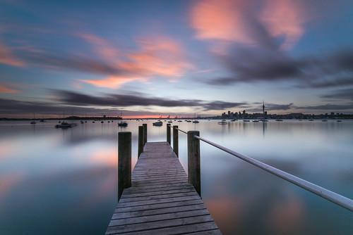 wharf jetty longexposure sunrise cityscape harbour pastels reflections