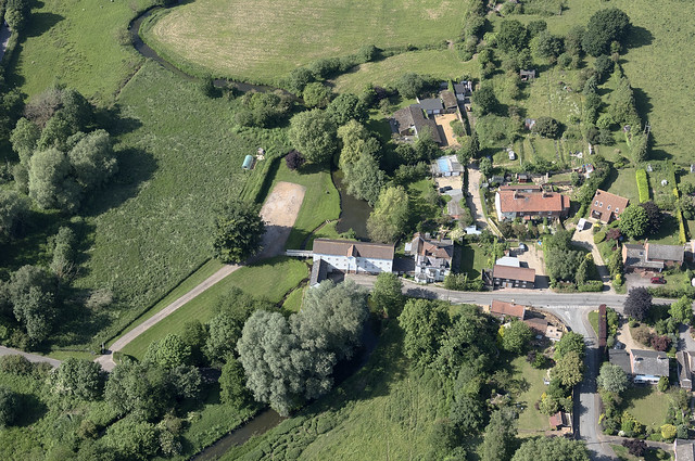 Stoke Holy Cross Mill on the River Tas in Norfolk - aerial image