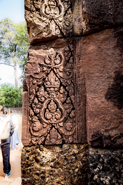 Detailed Bas-Relief Carvings on the Red Sandtone on the Wall of Banteay Srei Temple, Angkor, Cambodia-21