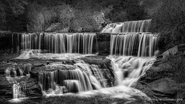 Seneca Mills Falls IN B&W