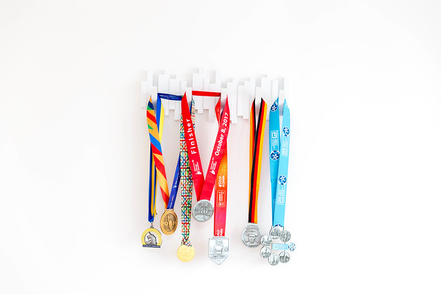 World Marathon Medals from Boston, New York, Chicago, Tokio, London and Berlin on white background
