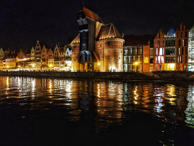 The Crane in Old Town  Gdansk, Poland by night at Motlawa River