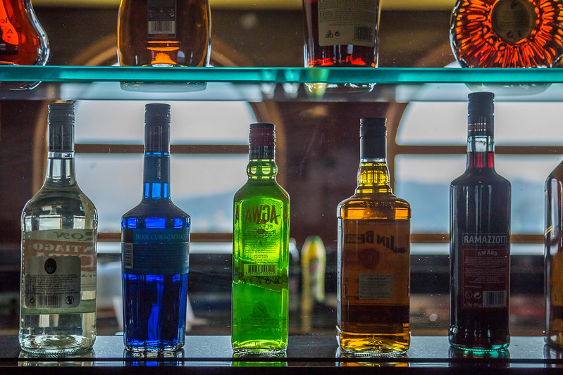 Spirits on shelf in the bar