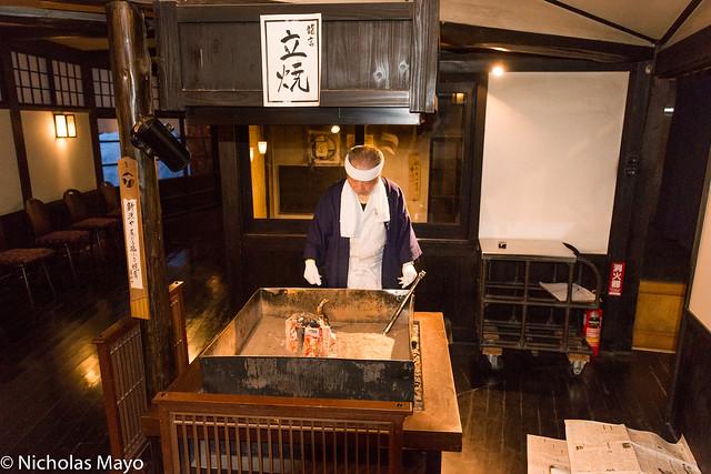 Grilling Fish At Ryugon Ryokan