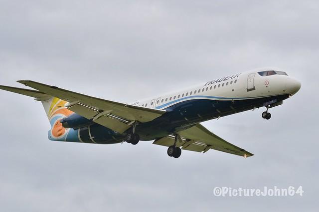 AF1556 Trade Air (for Air France) Fokker 100 (9H-BTD) from Clermont Ferrand arriving at Schiphol Amsterdam