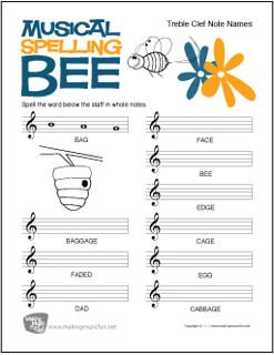 Music Spelling Bee   Free Treble Clef Note Name Worksheet ...