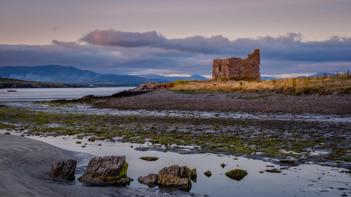 mccarthys castle tower fort ruin building historic ballinskelligs kerry ireland beach ocean sea coast landscape sunset sunlight cloud wildatlanticway west atlantic