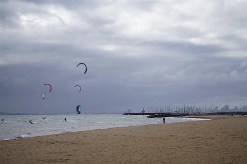 Kite surfers, marina and city skyline, Brighton | by Joe Lewit