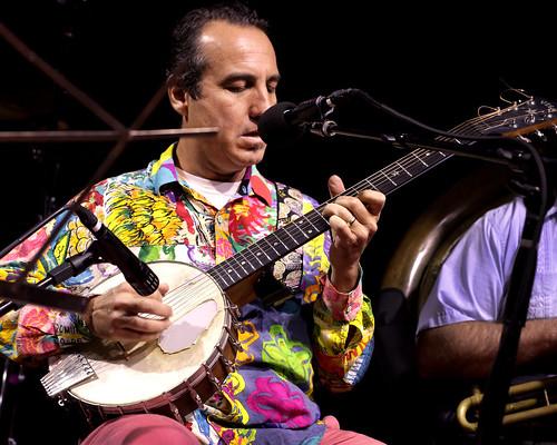 Seva Venet and his band at WWOZ - 10.18.18. Photo by Bill Sasser.