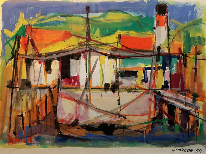 "Jean Hugon (1919 Marseille-1990 Saint-Médard-d'Eyrans)""Le Phare au Cap Ferret"" (1959)"