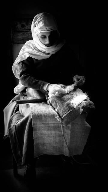 Woman working Wool