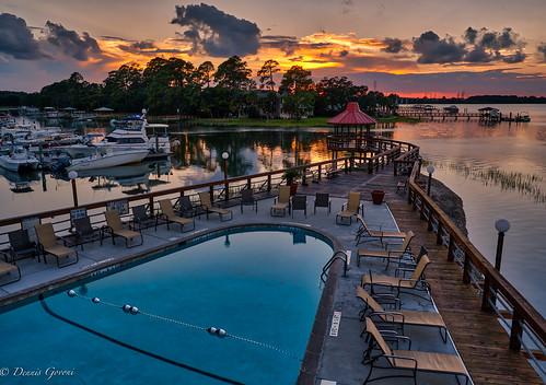 boats clouds hiltonhead landscape marina seascape southcarolina sunset water