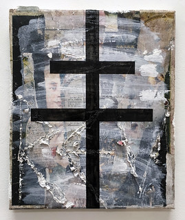 Zavier Ellis 'Revolt', 2018 Oil, house paint, collage on canvas 30x25.5cm