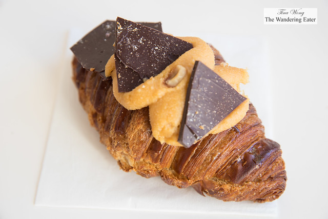 Twice baked pear and chocolate croissant