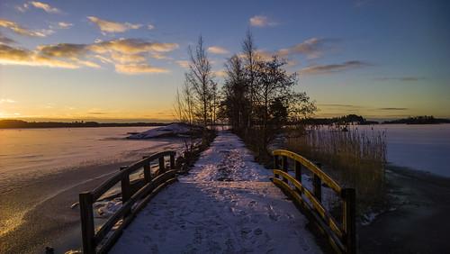 nokialumia1020 landscape seascape frozensea sea snow ice sunrise morning dawn bridge path sky clouds colour nature outdoors espoo finland