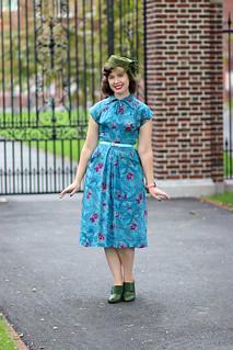 Aqua floral-and-bow 1940s dress   by polka.polish