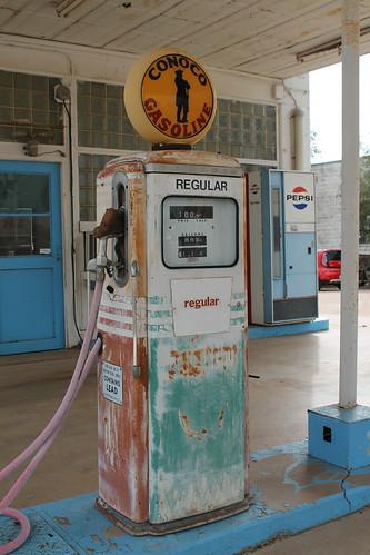 harmoncountyoklahoma highway62 hollisoklahoma hollis rural vintage outdoor gasstationmemorabilia conoco sky pavement oklahoma busycornervintagegasstation