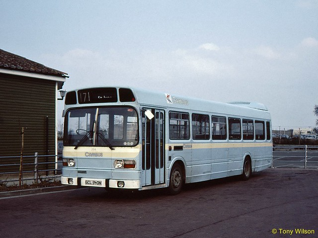 GCL 340N NBC Cambus  206 (ex Eastern Counties) Leyland National at St Ives April86 (Copy)