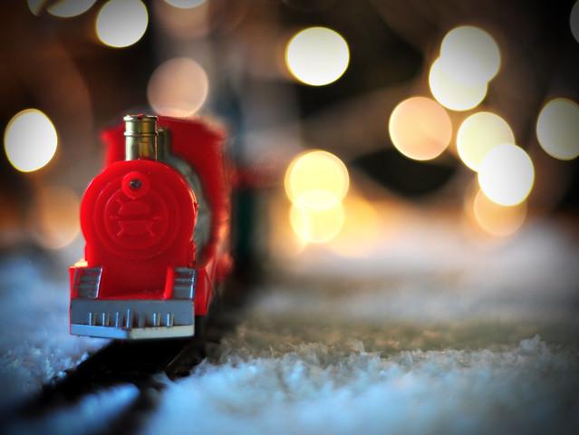 Toy Train under Christmas Tree