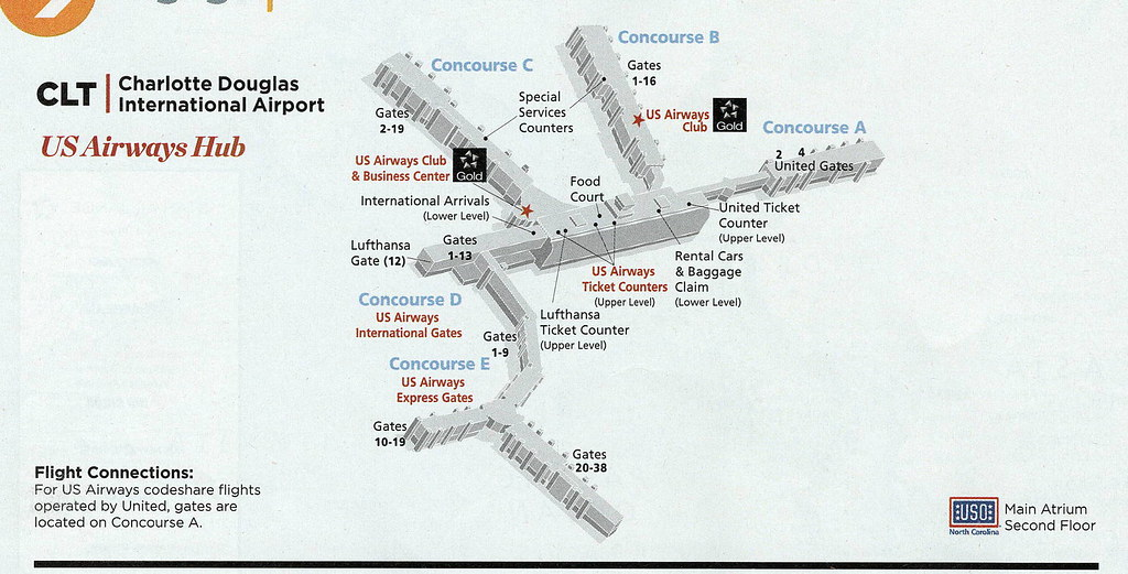 Charlotte International Airport Map on