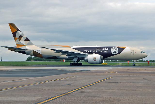 A6-DDE Boeing 777-FFX Etihad Airways Cargo 100 years Sheikh Zayed CS EMA 15-09-18
